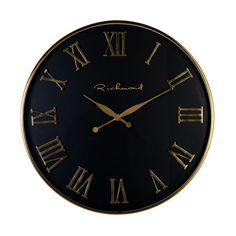 Ceas de perete rotund Richmond Deonne D 76cm Richmond Interiors, Classic Clocks, Gold Interior, Black White Gold, Roman Numerals, Gold Accents, Glass, Retro, Modern