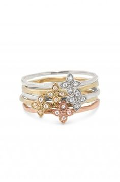 These delicate mixed metal rings are gorgeous in person.