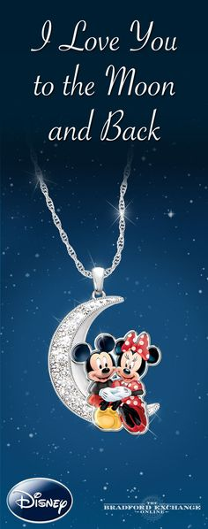 Let Mickey Mouse and Minnie Mouse celebrate your romance! This enchanting pendant necklace features Disney's favorite duo captured in the most romantic setting in the world: the edge of a crescent moon. Genuine Swarovski crystals sparkle like the constellations.