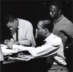 """Wayne Shorter, Jymie Merrit and Art Blakey, """"A Night in Tunisia"""" session, August 1960 by Francis Wolff Jazz Artists, Jazz Musicians, Kinds Of Music, Music Is Life, A Night In Tunisia, Wayne Shorter, Francis Wolff, Hard Bop, Blue Train"""