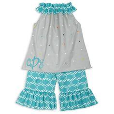 Girls Gray Dot Turquoise Lattice Capri Set