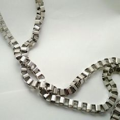 """Stephan & Co. Box Chain """"Y"""" Necklace Stephan & Co. Box Chain """"Y"""" Necklace:  - Large boxy silver metal chain on a """"Y"""" shaped design  - 28"""" length with no clasp Stephan & Co. Jewelry Necklaces"""