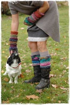 crochet noro leg warmers and mittens