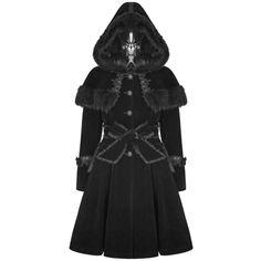 PYON PYON PRECIOSA GOTHIC LOLITA COAT BLACK Violent Delights ($180) ❤ liked on Polyvore featuring outerwear, coats, hooded coat, victorian coat, velvet coats, steampunk coat and preciosa