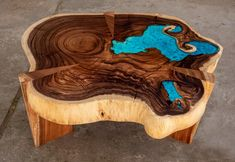 Resin Coffee table with glowing resin made of exotic suar wood image 8 Resin Table, Wood Table, Dining Table, Wood Images, Tung Oil, Live Edge Table, Wood Creations, New Living Room, Turquoise Color