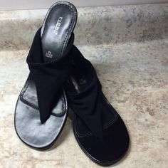 """Cute not so high heeled sandals Black elastic mesh top thong style. Heel is a little less than 3"""". Never worn. FIONI Clothing Shoes Sandals"""