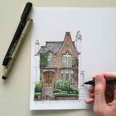 Fabulous Drawing On Creativity Ideas. Captivating Drawing On Creativity Ideas. Art And Illustration, Art Sketches, Art Drawings, Pen Sketch, Pencil Drawings, Amazing Sketches, Architecture Drawings, House Architecture, Urban Sketching