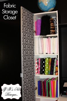 Fabric Storage Closet tutorial by If Its Not Baroque.