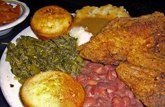 Fried chicken, greens, Pinto Beans, mashed potatoes and cornbread