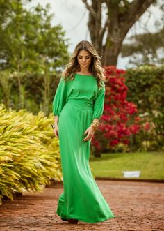 Gorgeous Green Maxi with Lovely Jewelry, visit us for more details