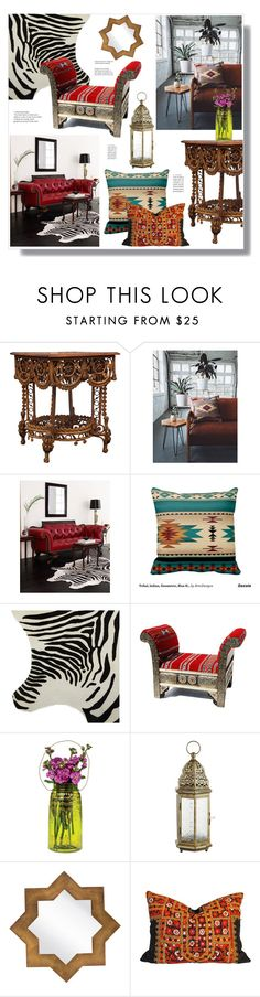 """Tribal/Exotic"" by hellodollface ❤ liked on Polyvore featuring interior, interiors, interior design, home, home decor, interior decorating, Old Hickory Tannery, Amara, Cultural Intrigue and Pier 1 Imports"