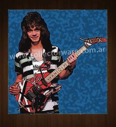 VAN HALEN Eddie Van Halen drawing 3 OIL-ACRYLIC ON CANVAS PAINTING  *Please see details at http://www.collectorware.com.ar/canvas-vanhalen_andrelated.htm