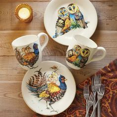 Sur La Table owl & pheasant stoneware