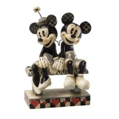 Black and White Mickey and Minnie Sit Figurine by Jim Shore