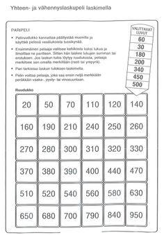Yhteen- ja vähennyslaskupeli laskimella (4.lk).