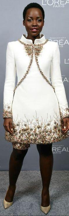 Who made Lupita Nyong'o's white dress?