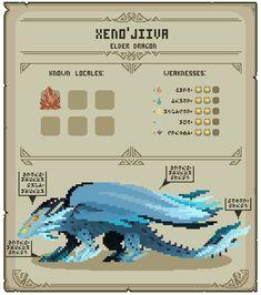 Pixel Hunter World: Xeno'jiiva by EarthmasterIndustry on DeviantArt Monster Hunter Series, Monster Hunter Art, You Monster, Monster Cards, Anime Couples Manga, Cute Anime Couples, Anime Girls, Pixel Art, Dnd Monsters