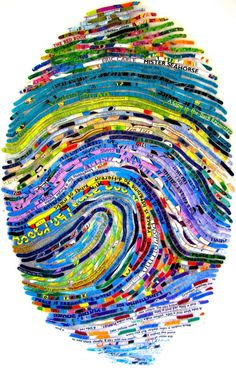 Kids Personalized Thumbprint Portrait. Cheryl Sorg...all collages are created from books. kid-crafts