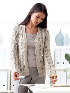 Lace and Cable Cardigan | Yarn | Free Knitting Patterns | Crochet Patterns | Yarnspirations