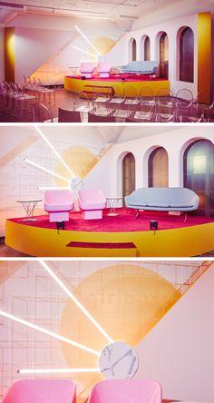 Love the midcentury look and pops of color! Stage Design, Event Design, Design Set, Backdrop Design, Booth Design, Commercial Design, Commercial Interiors, Public Space Design, Stage Set