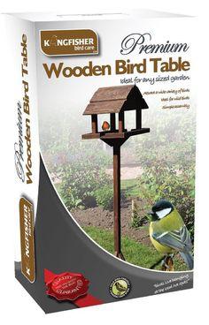 Deluxe Free Standing Wooden Garden Outdoor Bird Feeding Feeder Table Station
