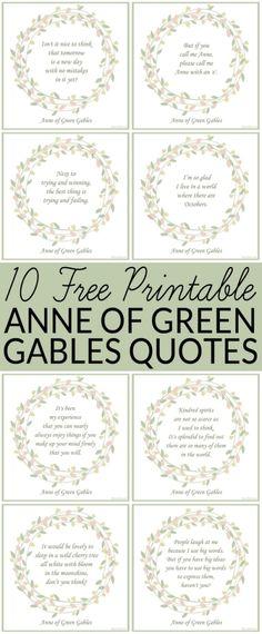 gratuito para imprimir Ana de las tejas verdes Quotes - Anne of Green Gables - 10 cotizaciones gratis - estoy tan contenta de que vivo en un mundo donde hay octubres. a través de @brendidblog by Carmen Teresa Gómez