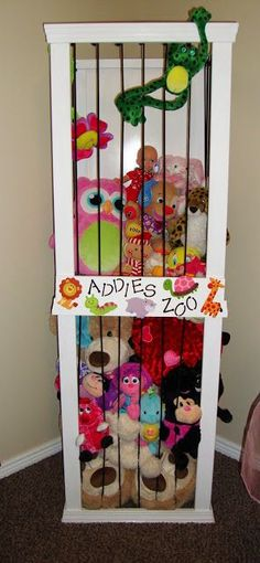 """A """"zoo"""" for all the stuffed animals! Love this idea- even better than the stuffed animal hanging mesh thingies! This way kids can actually get their animals out to play with them!"""
