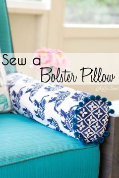 Sew a Bolster Pillow - Bolster Pillow Tutorial - Love this Boho Style pillow with pom pom trim! - Melly Sews