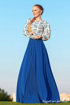 "Designer womens dresses Yellow Maxi #dress with long sleeve  from my collection  ""Empress""  Exclusive Russian style dress.  Full lenght blue summer dress with exclusive print. Special occasion wome... #dresses #clothing #fashion #eveningdress"