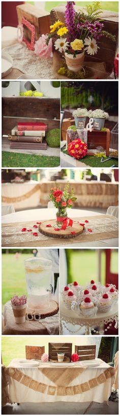 Burlap + Lace+ Coral outdoor summer wedding