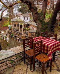 - The Daily Traveller - Makrinitsa, Pelion, Greece 🇬🇷 Best Hotels In Greece, Places Around The World, Around The Worlds, Al Fresco Dining, Outdoor Furniture Sets, Outdoor Decor, Street Photo, Greece Travel, Travel Posters
