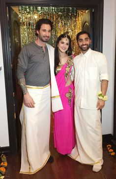 Daniel Weber With Sunny Leone And Sundeep Vohra In South Indian Attire Bollywood Fashion Style Beauty Hot Sexy Saree