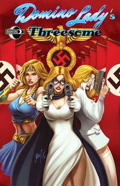 Domino Lady teams up with Golden Amazon and The Veil to take on Nazi scientists and an out of this world killer.  Domino Lady: Threesome #1. Written by Nancy Holder and Bobby Nash. Art by Marco Santiago. Cover by Glen Fernandez. Published by Moonstone Books. Domino Lady: Threesome #1 is available for order via the March issue of Previews magazine (in stores now). The ad above is found on page 380.  Let your local comic shop know the Diamond order code is STL003452