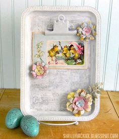 Cookie Sheet Magnet Board Ideas   Cookie Sheet Magnet Board with Shabby Flower Magnets
