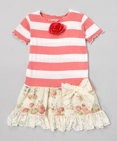 Another great find on #zulily! Cream & Coral Red Rosette Libby Ann Dress - Toddler & Girls by Ruby and Rosie #zulilyfinds