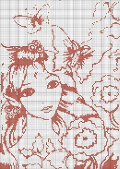 point de croix visage de femme avec papillon et fleurs - cross-stitch girl, woman with butterfly and flowers