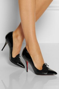 6f2acd8c799 Heel measures approximately 100mm  4 inches Black patent-leather (Calf)  Suede lace