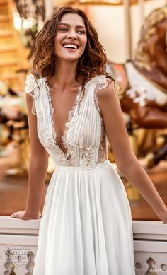 featuring - papilio 2019 bridal sleeveless with strap deep v neck lightly embellished ruched bodice romantic soft a line wedding dress v back chapel train zv -- Papilio Light 2019 Wedding Dresses Soft Wedding Dresses, Boho Chic Wedding Dress, Western Wedding Dresses, Handmade Wedding Dresses, Bridal Dresses, Wedding Gowns, Maxi Dresses, Evening Dresses, Wedding Hair