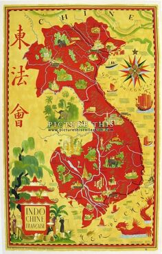 Picture This Gallery, Hong Kong | Beautiful vintage pictorial map of French Indochina. Artwork by Lucien Boucher, circa 1940. Printed in Paris, France. Linenbacked.