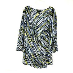 7cd6c7fd0b9 Lane Bryant Women s Wrap Top size 26   28 Stripe Blue Yellow Black V-neck