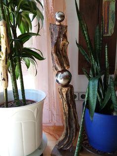 Skulptur aus Treibholz 78cm Plants, Driftwood, Sculptures, Plant, Planting, Planets