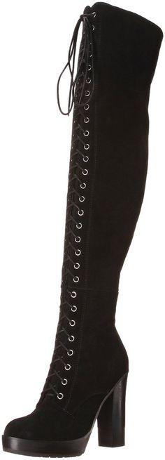 Aldo Women's ADEASIEN High Heel Laced-Up Thigh Boot, Black Suede, 8 B US