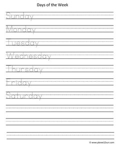 Days Of The Week Of Printable Handwriting Worksheets Printable Handwriting Worksheets, Free Printable Worksheets, Free Printables, Kindergarten Worksheets, Worksheets For Kids, Tracing Worksheets, Calendar Time, Spelling Words, Learning