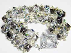 Deco Darling Studded Antique Chrome Stud and Crystal Vitrail Double Row Bracelet by WhimsyBeading, $100.00