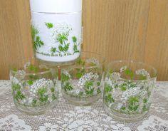 4 Vintage Libbey Juice Glasses Queen Anne's Lace M. Dia 60's or 70's