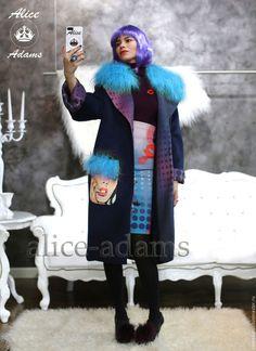 Верхняя одежда ручной работы. Пальто на меху с отделкой из меха ламы в стиле поп арт