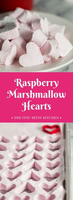 Homemade raspberry marshmallows go perfectly with a cup of hot chocolate and make great gifts for Christmas or Valentine's Day! And this delicious candy is easier to make than you'd think. Valentines Day Desserts, Valentine Treats, Holiday Treats, Holiday Recipes, Brownies, Heart Shaped Cookie Cutter, Red Food Coloring, Cookies