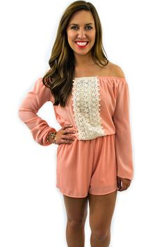 Coral Lace Romper - $52.95 - Coral Lace Romper from Envy Boutique. A beautiful coral romper, with a detailed floral lace running up the center of the romper from the top to the waist.  | available at http://www.envyboutique.us/product/coral-lace-romper/ |  #Envy #Boutique #fashion #fashiontrends