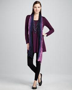 Long-Sleeve Wool Tunic, Jersey Leggings & Silk Ombre Wrap, Women\'s by Eileen Fisher at Neiman Marcus.