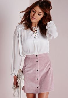 Missguided - Cord Button Through A Line Skirt Mauve